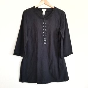 NWT Old Navy Black Beaded Cotton Blouse Tunic